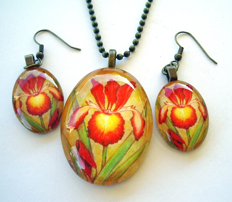 Spuria Iris Jewelry Earrings  Maroon Red and Yellow Antique Brass Oval Art Glass Strike Zone Iris Mother/'s Day Gift