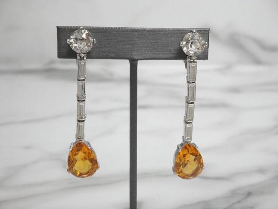 Antique Art Deco Topaz Chandelier Earrings, 1920s