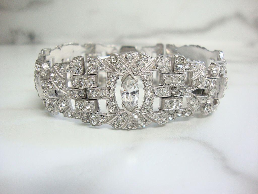 73ae33bf2e2e0c Antique Art Deco Bracelet 1920s Fine Vintage Wide Rhinestone