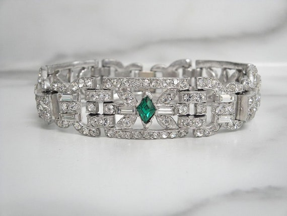 Emerald Art Deco Bracelet, Antique Art Deco Statem