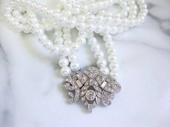 Art Deco Flapper Necklace, 1920s Pearl Art Deco Rh