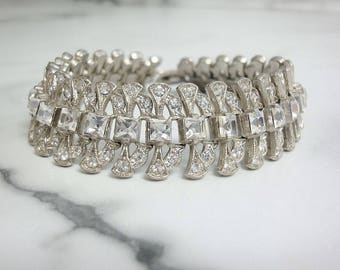 Vintage Art Deco Bracelet. 1920s Original Antique Wedding Jewelry. Fine Art Deco Rhinestone Bracelet. Bridal Bracelet