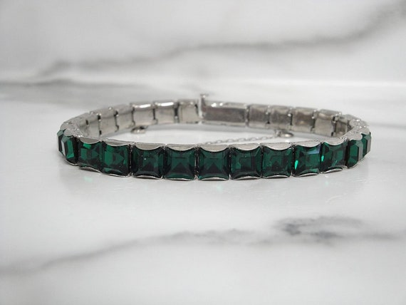 Antique Art Deco Emerald Bracelet, Original 1920s