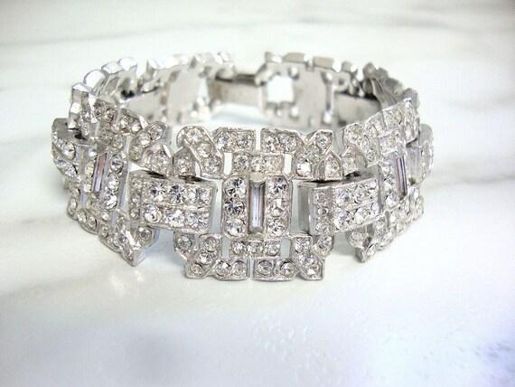 vintage bracelet Art Deco cuff rhinestone cuff 1920/'s wedding