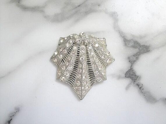 Art Deco Dress Clip, Antique Art Deco Rhinestone J