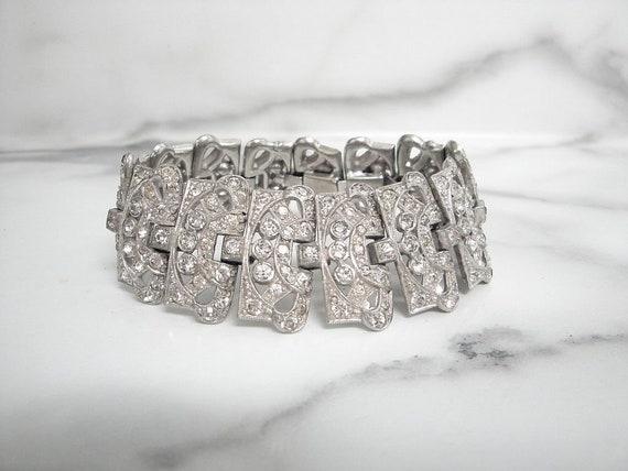 Antique Art Deco Bracelet, Wide Vintage Designer A