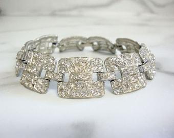 Art Deco Rhinestone Bracelet, 1920s Art Deco Jewelry, Fine Antique Wedding Jewelry, Bridal Accessory