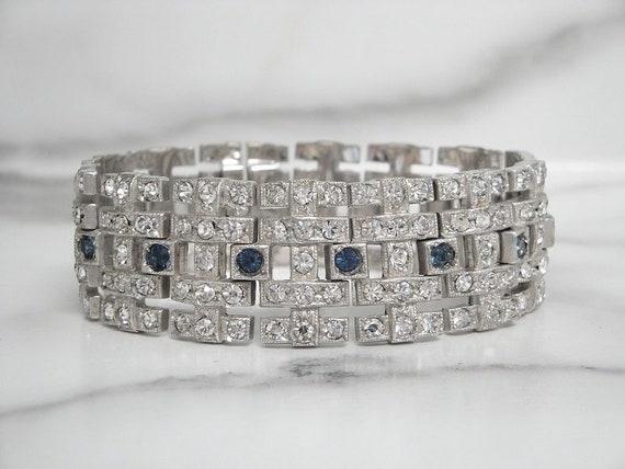 Vintage Antique Sapphire Art Deco Bracelet, Vintag