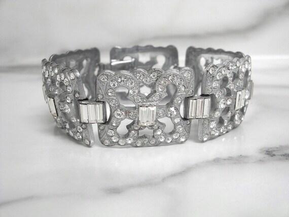 Art Deco Vintage Bracelet, Fine Czech Statement Ar