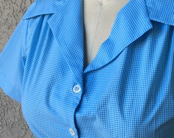 Teeny blue gingham Italian shirting 1940s style short sleeve cotton blouse S M or XL Ready to Ship