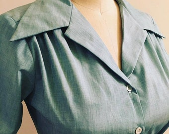 Green woven 1940s style short sleeve cotton blouse XL Ready to ship
