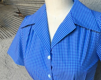 Tiny purple and blue gingham Italian shirting 1940s style short sleeve cotton blouse S to XL Ready to Ship