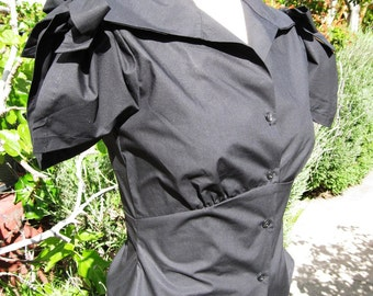 Sale 1930s style blouse black poplin tie sleeve Ready to ship XXS limited edition