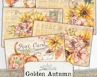 Printable Autumn Postcards, Vintage Junk Journal Ephemera Pack, Digital Stationery Bullet Journal, Pumpkin Fall Scrapbook Paper, Boho Autumn