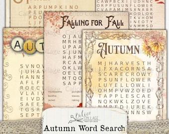 Autumn Word Search Printable Ephemera Pack, Junk Journal Supplies, Bullet Journal Digital Download, Stationery Scrapbook, Fall Ephemera