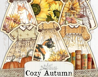 Printable Fussy Cut Autumn Dresses, Junk Journal Ephemera, Bullet Journal Supplies, Fall Ephemera, Vintage Digital Paper Prints, Cozy Autumn