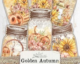 Autumn Mason Jar Tags, Junk Journal Ephemera Pack, Printable Bullet Journal Supplies, Vintage Fall Ephemera, Pumpkins, Golden Autumn