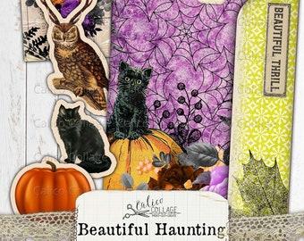 Halloween Junk Journal Folio, Junk Journal Kit, Beautiful Haunting, Ephemera Pack, Vintage Halloween, Journal Supplies, Printable