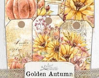 Autumn Junk Journal Tags, Printable Digital Paper Prints, Vintage Fall Ephemera, Sunflower Tags, Antique Paper, Pumpkin Foliage