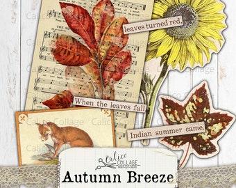 Printable Autumn Ephemera Pack, Junk journal Kit Vintage Fall, Watercolor, Journal Supplies, CalicoCollage, Autumn Breeze