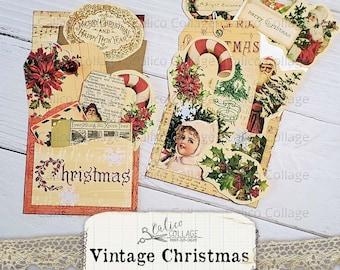Printable Vintage Christmas Ephemera Pockets, Golden Christmas Junk Journal Kit, Scrapbook Digital Paper, Holiday Loaded Pocket, Fussy Cut