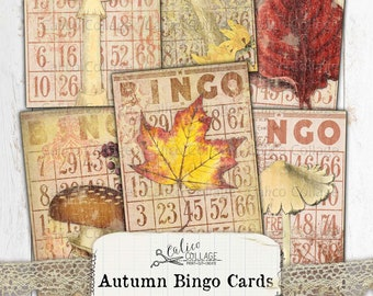 Antique Bingo Cards Lot of 5 RedWhite Vintage Cards Decor