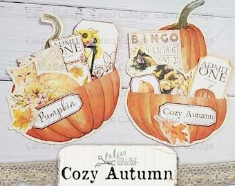 Printable Autumn Pumpkin Pockets, Junk Journal Supplies, Scrapbook Digital Paper, Autumn Ephemera, Cozy Autumn Cats, Vintage Loaded Pocket