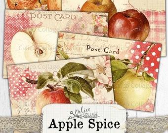 Printable Autumn Apple Postcards, Vintage Junk Journal Ephemera Pack, Digital Stationery Bullet Journal, Fall Scrapbook Digital Paper