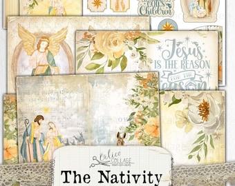 Printable Nativity Junk Journal Kit, Vintage Christmas Digital Paper, Scrapbook Bullet Journal Stationery Supplies, Antique Religious Paper