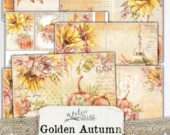 Printable Autumn Sunflower Junk Journal Kit, Fall Ephemera Pack, Shabby Chic Bullet Journal Stationery, Botanical Ephemera, Golden Autumn