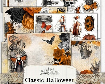 Junk Journal Digital Halloween Junk Journal Kit, Ephemera Pack, Gothic Bullet Journal Stationery, Printable Halloween Ephemera