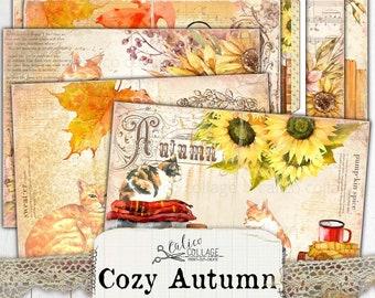 Printable Autumn Cat Junk Journal Kit, Fall Ephemera Pack, Shabby Chic Bullet Journal Stationery, Botanical Ephemera, Cozy Autumn