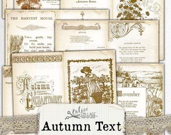 Printable Autumn Ephemera Junk Journal Papers, Vintage Fall Bullet Journal Supplies, Stationary Scrapbook Digital Papers, Ephemera Pack
