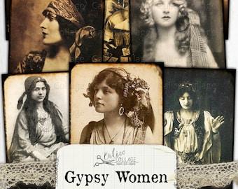 Printable Gypsy Women Junk Journal Ephemera Pack, Halloween Ephemera, Witch Ephemera