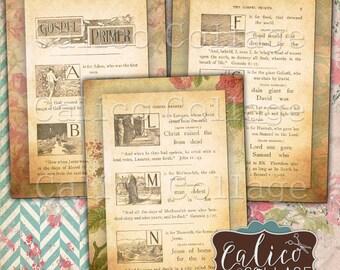 Vintage Gospel , Religious Ephemera, Faith, Printable Cards, Digital Tags, Junk Journal Spots, Instant Download, CalicoCollage