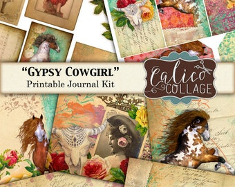 Gypsy Cowgirl, Printable Journal, Junk Journal Kit, Digital, Cowgirl Ephemera, Vintage Cowgirls, Country Western, Wild Horses, CalicoCollage