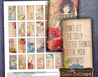 Pixies and Quotes, Domino Collage Sheet, Domino Printable, 1x2 Collage Sheet, Printable Download, Printable Ephemera, Decoupage