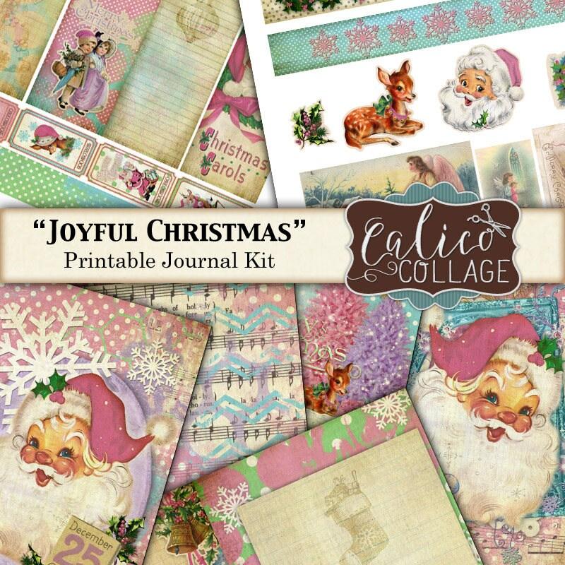 Printable Journal Kit Joyful Christmas Junk Journal Kit | Etsy