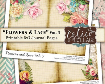 Flowers and Lace, Printable Ephemera, Journal Pages, Collage Sheet, Rose Ephemera, Digital Pages, Junk Journal, Instant Download, Digi Kit