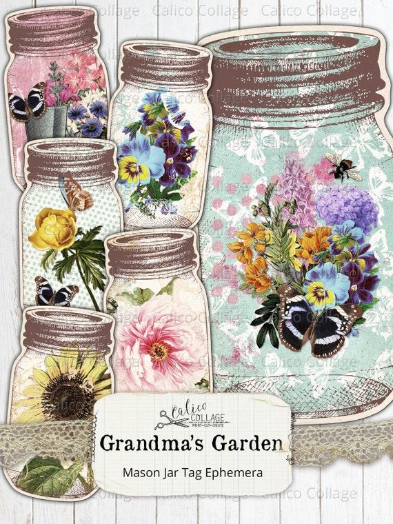 Printable Mason Jar Junk Journal Ephemera Pack Grandmas Garden