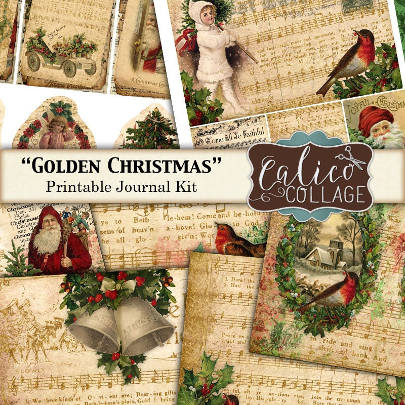 Junk-Zeitschrift Kit Golden Christmas druckbare Journal