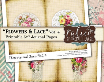 Flowers and Lace, Printable Pages, Journal Kit, Printable Ephemera, Digi Kit, Junk Journal, Digital Download, Vintage Paper, CalicoCollage
