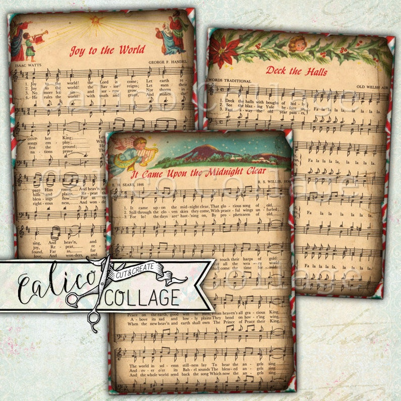 e840c5d7721db Printable Vintage Christmas Sheet Music Digital Gift Tags
