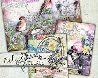 Printable, Postcards, Digital, Journaling Spots, Junk Journal, Ephemera Pack, Vintage Flowers, Scrapbooking, Mixed Media, Day Dreaming