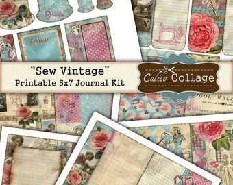 Sew Vintage Digital Journal Kit, Sewing Ephemera, Junk Journal, Digital Collage Sheet, Printable Ephemera, CalicoCollage, Journal Pages