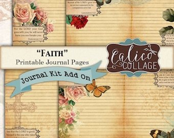 Faith, Journal pages, Printable Journal, Kit Add On, Journal paper, printable Paper, Religious Images, Journal Cards, Journal Supplies