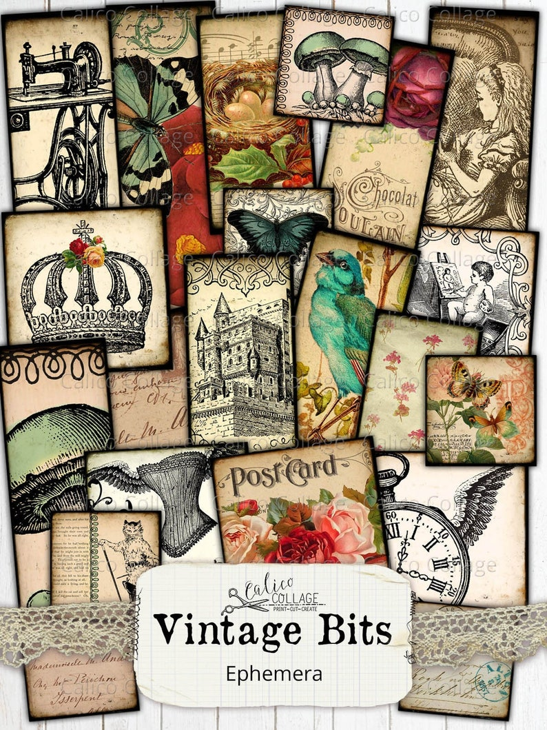 Calico Collage Vintage Bits Printable Digital Collage Sheets Junk Journal Ephemera Pack Vintage Ephemera