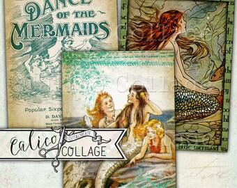 Printable, Journaling Cards, A Mermaid Tale, Digital, Collage Sheet, Mermaid Ephemera, Scrapbooking, Gift Tags, Mermaids, Junk Journaling