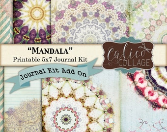 Mandala, Journal Pages, Printable Journal, Kit Add On, Journal Paper, Printable Paper, Mandala Images, Journal Cards, Journal Supplies