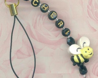 Personalized Bumble bee / Honey bee CELL PHONE lanyard style, Plug, or Zipper Pull Charm with Gift Pouch and Gift Box!
